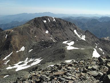 Du sommet du pic Verdaguer 3131 mètres, le pic du Montcalm prochain objectif