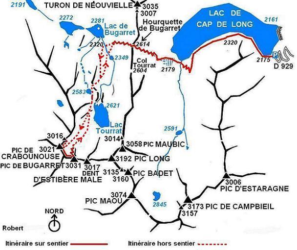 Schéma itinéraire pics de Crabounouse et de Bugarret