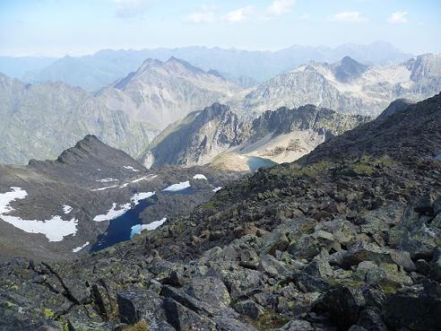 Du pic ou Pale de Crabounouse 3021 m, le lac de Crabounouse
