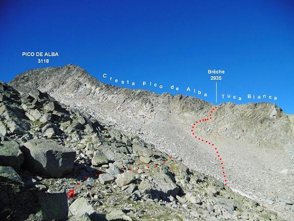 Itinéraire descente Ouest vers le vallon de gros blocs de granit et remontée vers la brèche 2935