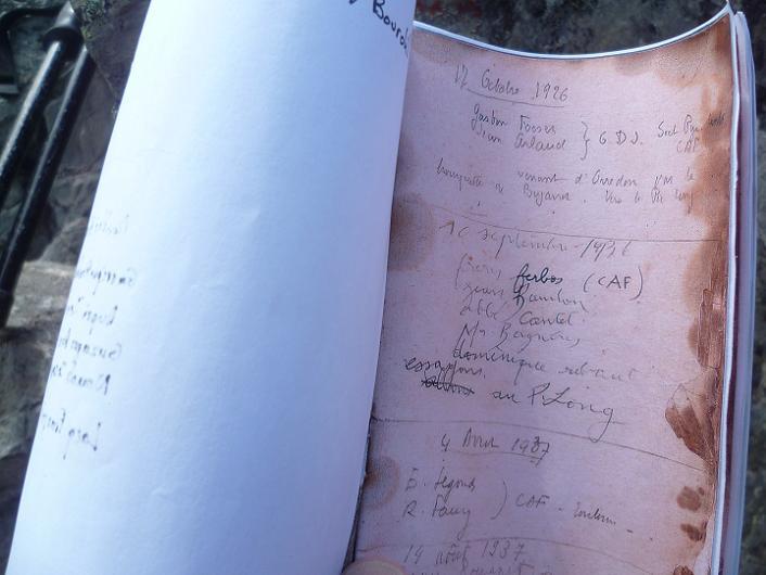 Copie du carnet original du pic de Bugarret