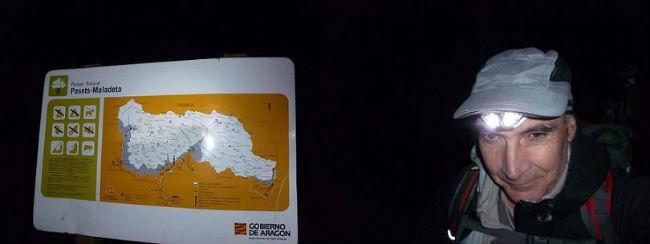 Départ de nuit, à la frontale, des Palancas del Hospital 1754 m