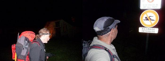 Après un départ de nuit à la lueur des frontales, passage près du déversoir du lac d`Oô (1504 m)