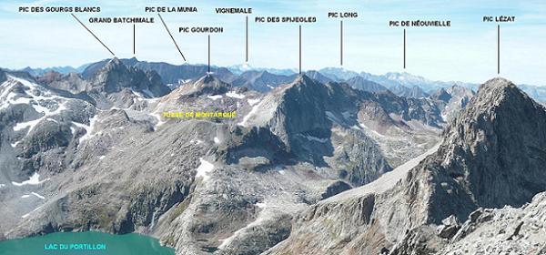 Du sommet du pic des Crabioules Occidental (3106 m), Batchimale, Gourgs Blancs et Vignemale, Néouvielle et Lézat