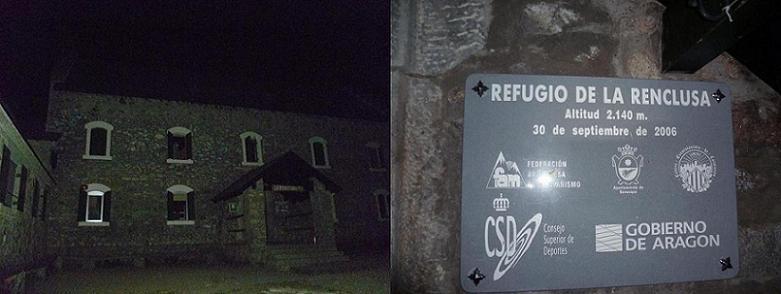 Passage de nuit devant le refugio (refuge) de la Renclusa 2140 m