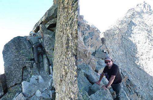Passages d`escalade en montant vers le pico de la Maladeta