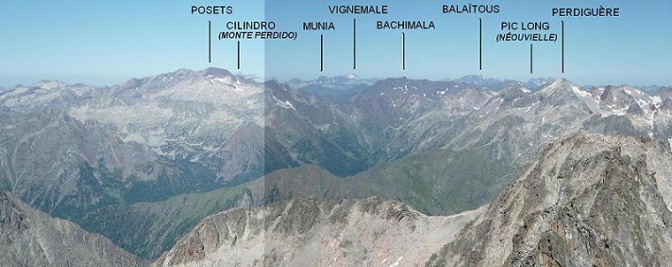Du sommet du pico de la Maladeta 3308 m, vue sur huit massifs de plus de 3000 m, des Posets au Perdiguère