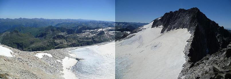 Du sommet du pico Abadias 3279 m, les sommets ariégeois, le pico Maldito, la cuvette glacière et le glacier de Aneto