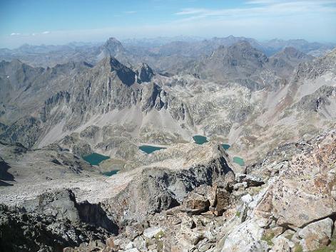 Du sommet de la Frondella Central 3055 m, Visaurin, Ossau, Arriel, Lurien et ibons de Arriel