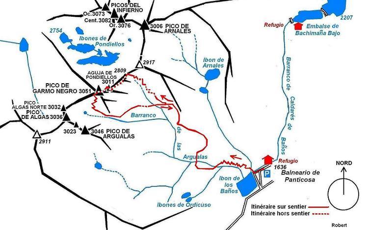 Schéma de l`itinéraire Aguja de Pondiellos Garmo Negro