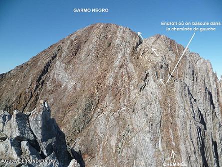Du sommet de la Aguja de Pondiellos 3011 m, le Garmo Negro et sa voie d`accès