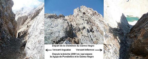 Arrivée dans la brèche 2981 m, au pied de la cheminée du Garmo Negro, avec à gauche le versant Argualas et à droite le versant Infiernos