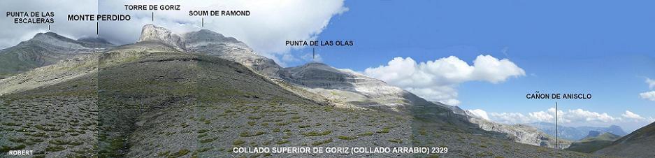 Retour au Collado Superior de Goriz ou Collata Arrablo 2329 m, pour un dernier regard derrière, sur la Punta de las Olas qui s`est dégagée
