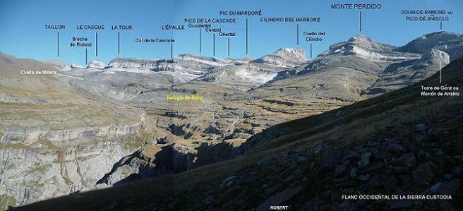 En traversant le versant Occidental de la Sierra Custodia, face aux sommets du massif du Monte Perdido