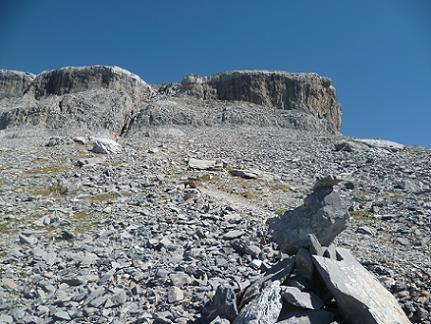 Le passage clé, 2650 m, où on quitte le GR 11 pour monter vers la faille