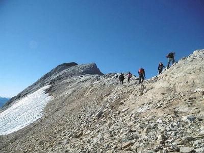 Arrivée sur la crête frontière (3172 m)