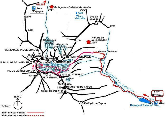 Schéma itinéraire crête Montferrat, pics Central, de Cerbillona et du Clot de la Hount