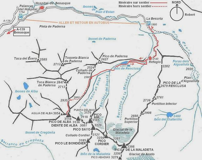 Schéma de l`itinéraire rando au pico de la Maladeta