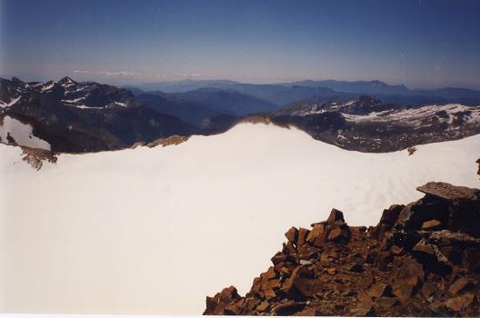 Du sommet du Vignemale, le haut du glacier d'Ossoue