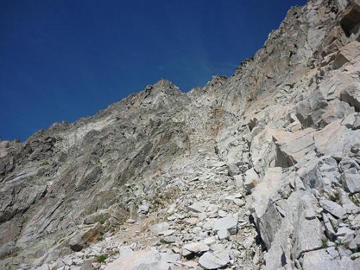 Départ de la diagonale Sud qui donne accès au pico Russell