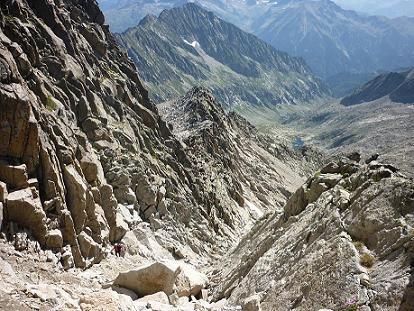 La diagonale Sud du pico Russell vue du haut