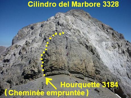 Du sommet du Piton S W del Cilindro 3194 m, le Cilindro del Marbore et ses cheminées d`accès