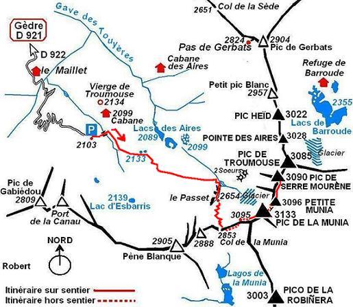 Schéma itinéraire pic de la Munia, Petite Munia, Serre Mourène