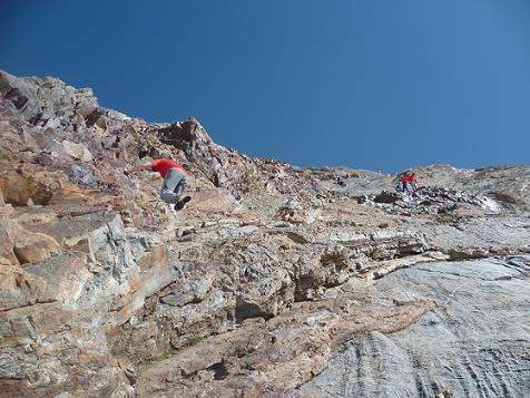 Escalade des rochers de la face Sud de la Pique Longue du Vignemale