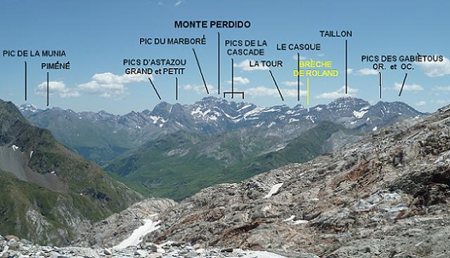 Dans la descente, regard sur le massif Gavarnie Monte Perdido