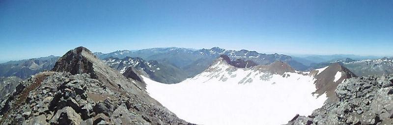 Du sommet du pic du Clot de la Hount (3289 m), Vignemale, Monte Perdido et glacier d`Ossoue