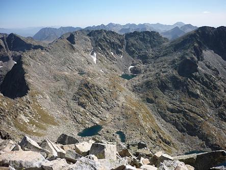 Du sommet de la Punta Alta de Comalesbienes 3014 m, Contraix, Crestells de Cotteto et Estany Gelat