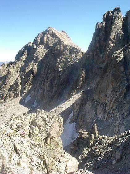 Du coll d Abellers regard derrière vers le Besiberri del Mig et la raide pente remontée