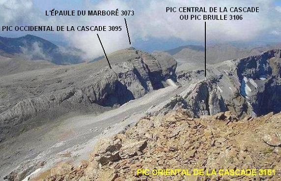 Du pic Oriental de la Cascade (3161 m), pic Brulle, pic Occidental et Epaule