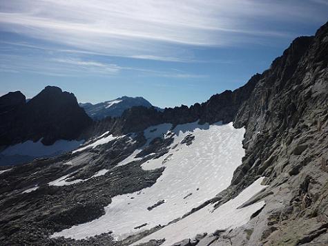 Depuis le `Mauvais Pas`, le pic de Boum, le massif Aneto Maladeta, les glaciers de Maupas et de Boum