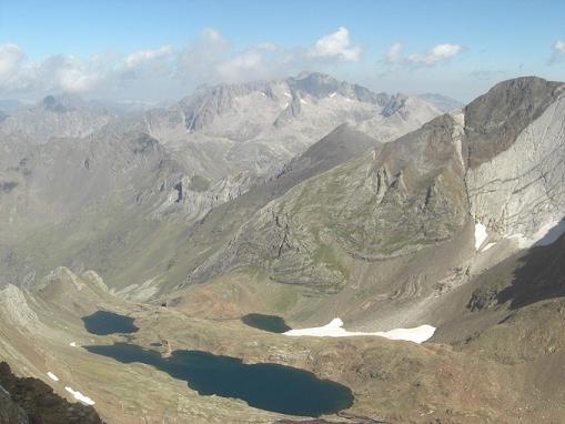 Du sommet du pico de Garmo Negro, le pic Balaitous et les Frondellas