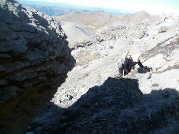 Après un passage d`escalade facile, arrivée à la Terrasse Supérieure
