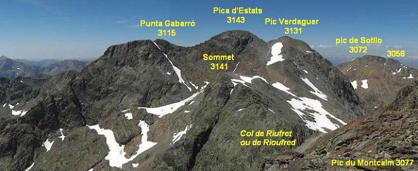Panorama depuis le sommet du Montcalm (3077 m), Gabarro, Estats, Verdaguer et Sotllo