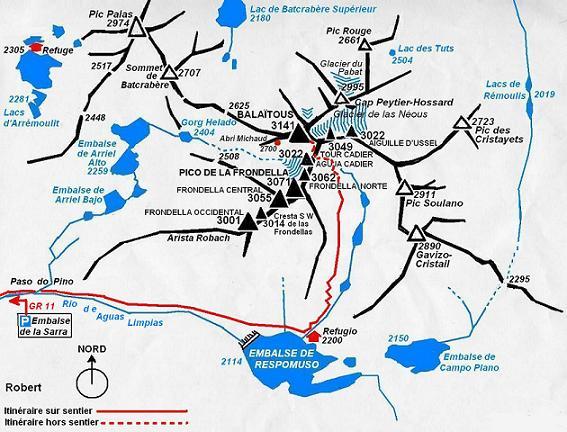 Schéma itinéraire Balatous par Respomuso et la Brecha Latour