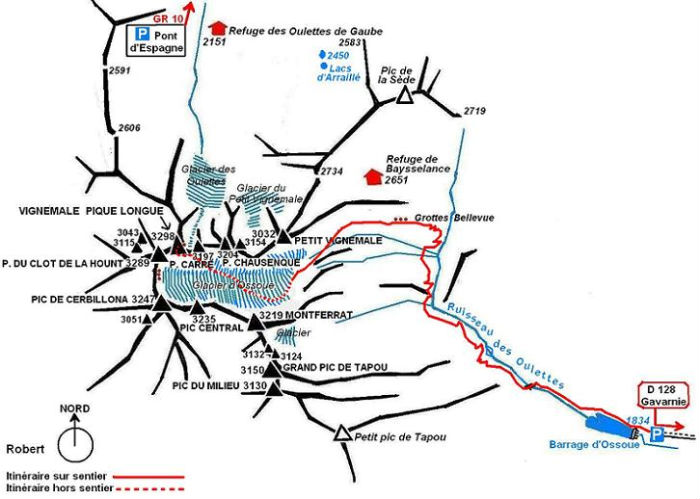Schéma itinéraire du Vignemale depuis le barrage d`Ossoue
