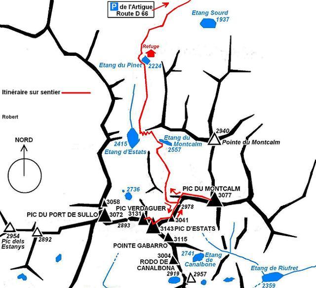 Itinéraire Pica d`Estats, pic Verdaguer, pic du Montcalm